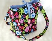 Purse, Floral Purse, Small Tote Bag, Love, Peace, Flowers, Butterflies, Handmade Handbag, Fabric Bag, Cloth Purse, Shoulder Bag