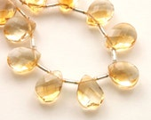 Citrine Briolettes, Faceted Briolette Beads - 6 beads