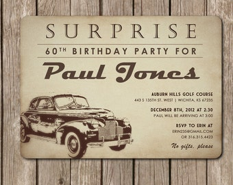 Antique Car Invitation - perfect for a dad's birthday party - DIGITAL FILE (I design, you print DIY) customized to any color