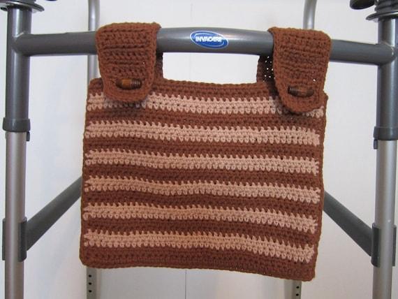 Crochet Patterns For Walker Bags : Crocheted Walker Bag Brown Beige Medium Tote by ...