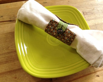 Napkin Rings - brown with colored dots - 6 for 10