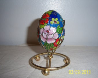 Enamel Cloisonne Egg  -   Enameled Cloisonne Easter Eggs  -  1970s Cloisonne Asian Egg With Metal Stand  - Russia