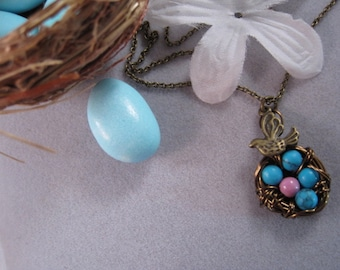 Antique Bronze Bird and a Nest filled with Turquoise Eggs Necklace, pink turquoise, blue turquoise,