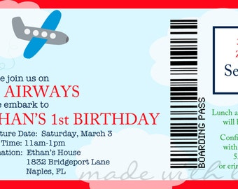 Airplane Boarding Pass birthday invitation, personalized and printable, 4x8