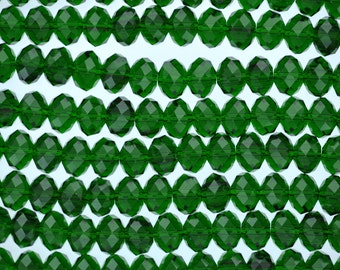 8mm EMERALD GREEN Faceted Glass Crystal Rondelle Beads, transparent crystals, about 41 beads, bgl1313