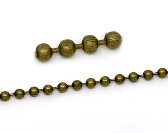10 meters (over 32 feet) ANTIQUED BRONZE TONE Metal Ball Chain 3.2mm fch0131