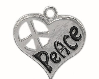 4 Silver Tone Metal Heart Cutout PEACE Stamped Charm Pendants chs0969