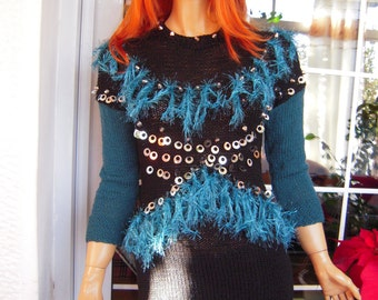 SALE Handmade knitted sweater dress /embroidered dress in black and teal ready to ship gift idea for her size M by golden yarn