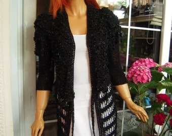 jacket handmade knitted long boho cardigan /goth sweater in black ready to ship size M gift idea for her by golden yarn
