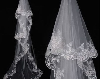 Single Layer Lace Trim Cathedral Length Veil White