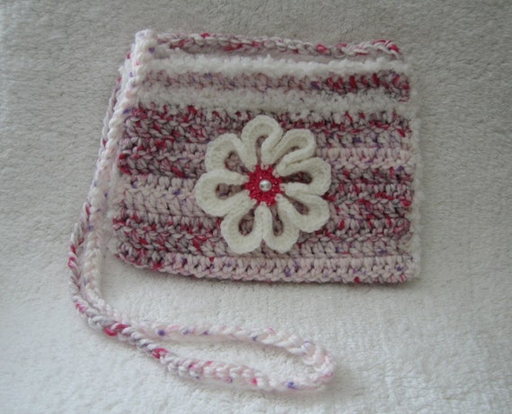 Crocheted purse in multi-pink and white - 10% off!