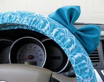 Steering Wheel Cover Bow, Happily Ever After Teal Steering Wheel Cover with Teal Bow BF11226