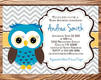 Owl Baby Shower Invitation, Baby Shower Invite, Boy, Girl, Blue, Blue, Pink, Chevron Stripes, Yellow, Green, Yellow, 1441