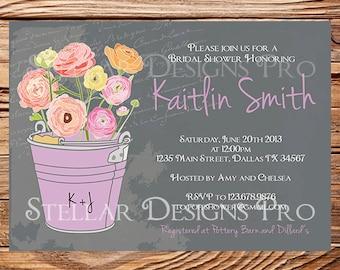 Garden Bridal Shower Invitation,Vintage Garden Shower Invitation,Gray, Neutral, Blue, Green, Purple, Wedding Shower Invitation, 5193