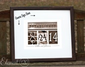 """Established Wedding Date Guest Book 19""""x22"""" Alternative - Unique Wedding Guestbook Number Photo Art in Brown frame, Ready for signatures"""