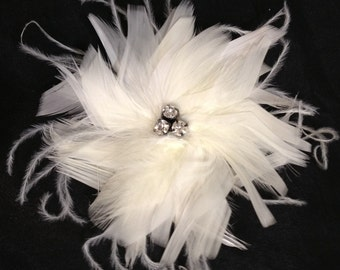 CUSTOM COLORS White Black Ivory Feather Bridal Fascinator Clip - Wedding Hair Piece Swarovski Crystal BLING Pearl Accents Bride Feathers