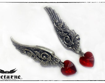 Romantic Wing Earrings - Clip on Dangling Earrings with Red Heart - Victorian Gothic Jewelry