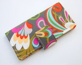 LAST in This Fabric - IN STOCK - Vacation Bifold Wallet - Smart Phone Clutch -  Cabana Blooms Large Floral in Gray Melissa Ybarra