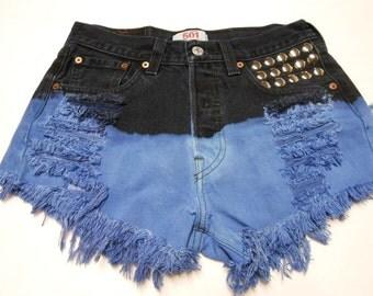 27 inch waist......Levis 501  Hand Dip  Dyed  Denim Shorts - Studded