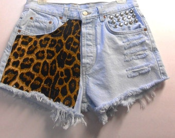 High Waisted Lucky Brand denim shorts -----Leopard  and Studs--Waist  30.5  inches  ---Ready to Ship