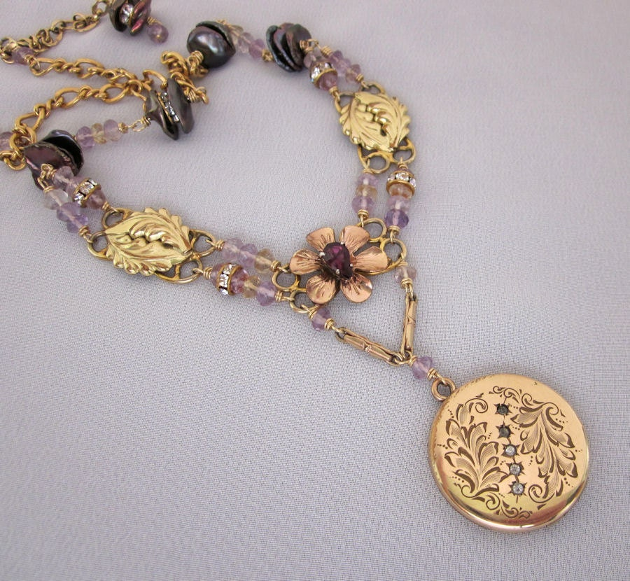 Repurposed antique locket necklace victorian gold filled for Repurposed vintage jewelry designers