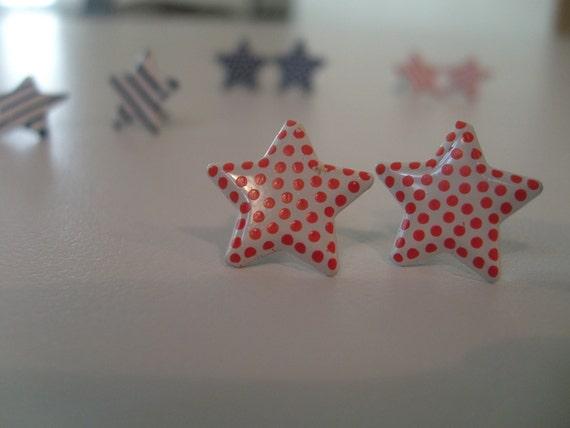 Stars and Stripes Stud Earrings  (Set of 2)