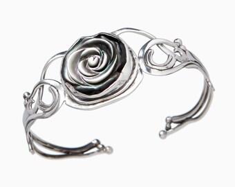 Carved Flower Sterling Silver Cuff Bracelet- Silver Flower Bracelet