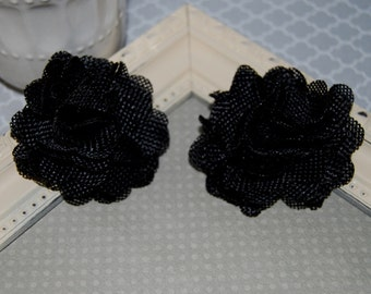 Flax Fabric Flowers - Black linen Burlap fabric flowers (2 pcs) - use for headbands - hair hat shoe clips  rustic vintage decorations