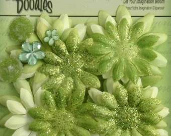 fabric flowers - Daisy Value Pack 25 pieces - 1292 -139 - Lime Green Fabric and Glitter Daisies