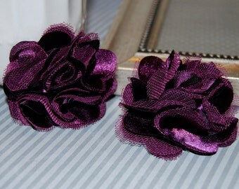 Plum Flowers - Small 2.5'' Satin mesh silk fabric flowers (2 pcs)  - use for hair flower shoe clip flower headband flowers  bridal wedding