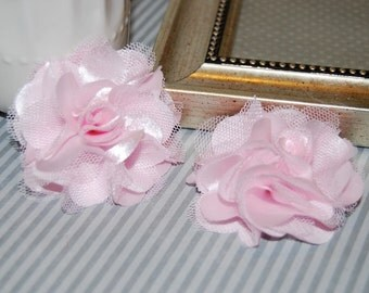 Light Pink  Flowers - Small 2.5''  Satin mesh  fabric flowers (2 pcs) - use for hair flower shoe clip flower headband flowers bridal wedding