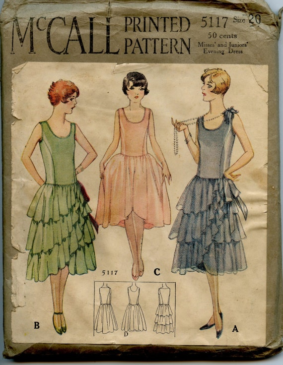 1920s mccall 5117 vintage sewing pattern misses evening dress