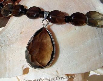 November Birthstones, Beautiful Smoky Topaz with Citrine, Necklace Set