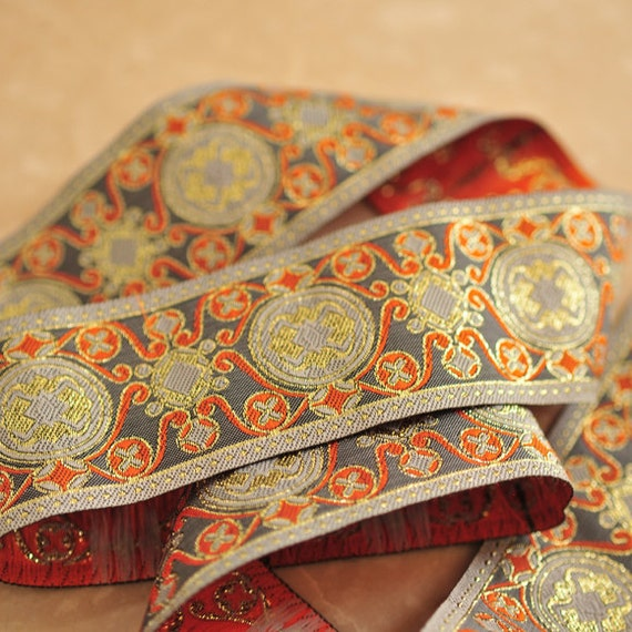 Pattern Swirl Jacquard Trim Ribbon Orange Grey - 2 Yards