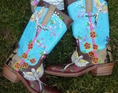 Painted Leather Boots