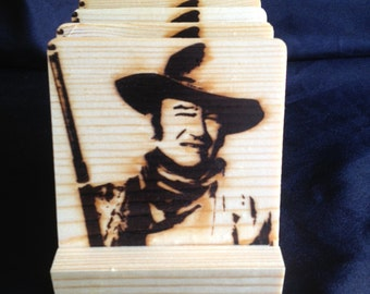 John Wayne Wood Coasters