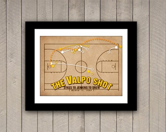 "NCAA Basketball Print ""The Valpo Shot"" 12x16 Infographic Basketball Poster in Gold, Brown, Orange"