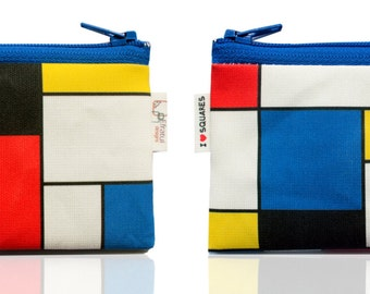 Mondrian inspired Coin purse wallet for men women and kids , Christmas gift - on sale