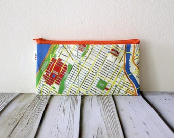 NEW YORK map pencil case / zipper pouch / Map pattern wallet / Souvenir from New York Harlem Columbia University - Back to school
