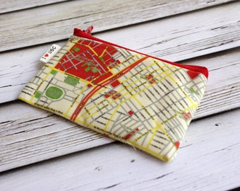 Coin purse wallet with the map of the University of southern California printed on it - Los Angeles - Map pattern Red zipper pouch