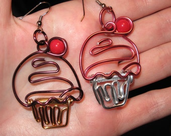 Wire Wrapped CUPCAKE Earrings MADE to ORDER With a Cherry On Top