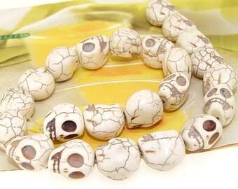 """17mm gemstones Loose White  Turquoise skull beads stone FULL STRAND 16"""""""