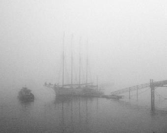 Bar Harbor Schooner Photograph, Black and White Maine Photography, Boats, Pier, Coast, Morning Fog and Mist, Monochrome Art Print, Gray