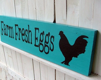 Farm Fresh Eggs Sign (Turquoise) Reclaimed Wood