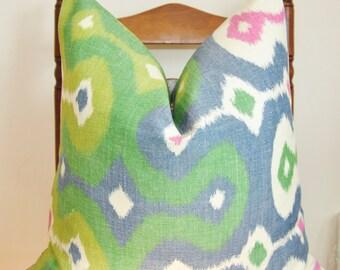 Darya Ikat Pillow Cover, Decorative Pillow, Throw Pillow, Toss Pillow, Martin Lawrence Bullard, Schumacher Pillow, Jewel, Home Decor
