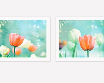 Flower Photography Set - 2 two teal orange mint blue aqua peach coral nature tulip print set turquoise wall art pastel nursery spring photos