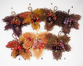 Reserved for Tammara: Beadwoven Maple Leaves