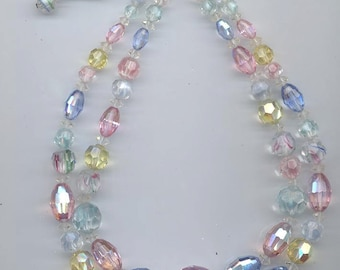 Fantastic 2-strand vintage crystal necklace and Vendome earrings in pastels - all rare and beautiful Swarovski crystals