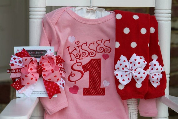 Items Similar To Baby Girl Valentine Outfit Kisses For