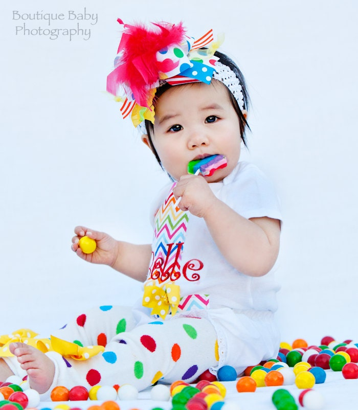 First Birthday Outfit Rainbow Sweetheart Bow Leg